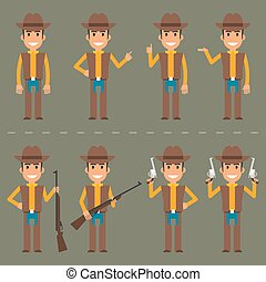 Cowboy character in various poses - Vector illustration, ...