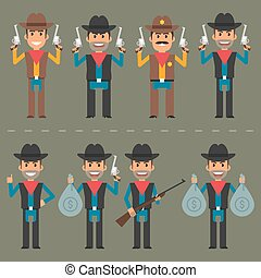 Cowboy character weapons and money - Vector illustration,...