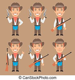 Cowboy Holds Weapons
