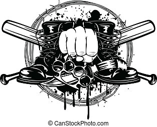 crossed bats, boots, knife and knuckleduster - Vector ...