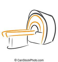 Vector illustration : CT Scanner sketch on a white background.