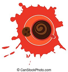 Cup with coffee top view on a white background