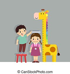 Vector illustration cute cartoon boy measuring height of little girl with giraffe height chart on the wall.