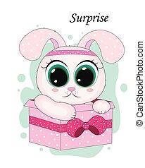 vector illustration cute cartoon rabbit girl
