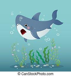 Vector illustration cute cartoon shark swimming underwater in the blue ocean.