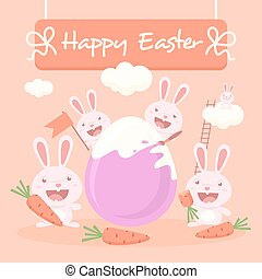 Cute easter bunnies and egg 2