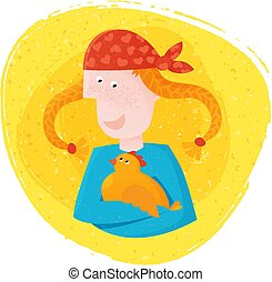 Vector Illustration. Cute girl with long knitted braids holding in hands happy hen.