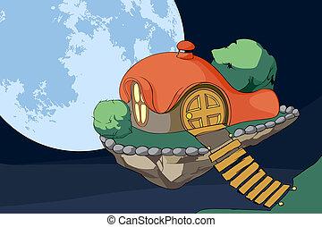 Cute house in air
