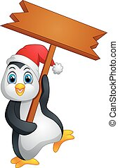 cute penguin holding blank sign