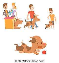 Vector illustration cute playing dogs with people characters funny purebred puppy comic happy mammal breed