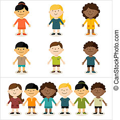 Vector illustration - cute smiling multicultural children. All elements can easily be changed to fit your layout.