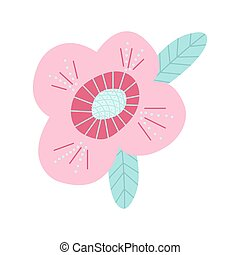Vector illustration cute summer flower. Botanical hand drawn flowers elements. Design for invitation, greeting cards, t-shirts, notepad