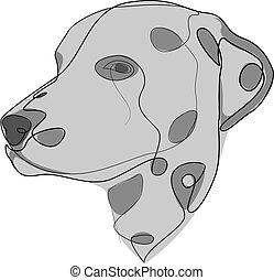 vector, illustration., dalmatian., continuo, estilo, perro,...