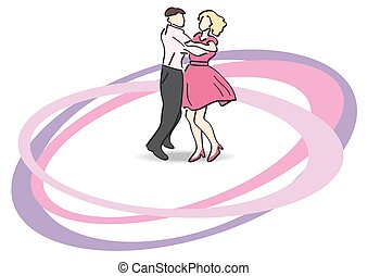 vector illustration - dancers on the dancefloor