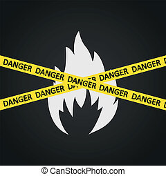 Vector illustration danger tape flammable