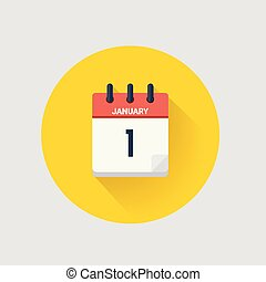 Day calendar with date January 1. - Vector illustration. Day...