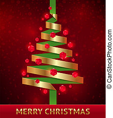 Vector illustration - decorative paper christmas tree