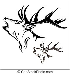 Deer head - Vector illustration : Deer head on a white ...