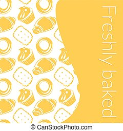 Vector illustration delicious pastries in doodle style with place for text