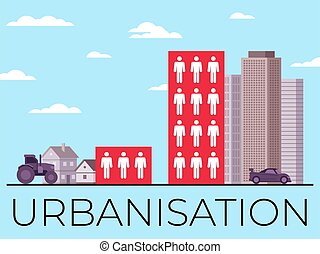 This colorful illustration depicts urbanization, the process of increasing the urban population and reducing the population in villages