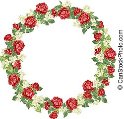 Vector illustration deor element with roses and jasmine