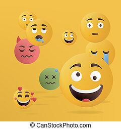 Vector illustration. Design of funny emoticons