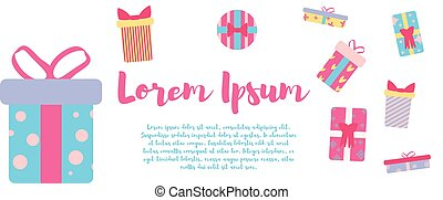 illustration. Design template. Gifts in retro colors