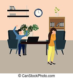 Vector illustration, despair woman crying, angry boss shouting at her. Isolated characters. Pressure at work.