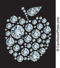 Diamond apple on black background