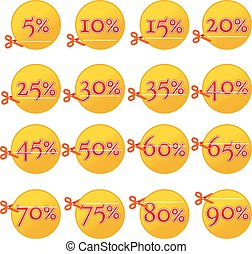 Discount yellow buttons and scissors, from 5 to 90 percent.