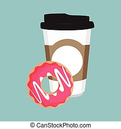 Vector illustration disposable coffee cup icon with pink sweet donut
