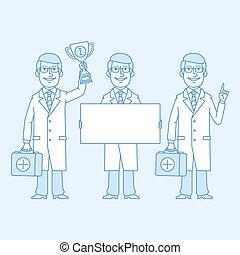 Doctor holding cup and blank poster