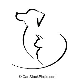 vector illustration dog and cat