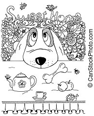 Vector illustration , Dog and kitchen table. Doodle flowers. Meditative exercise. Coloring book anti stress for adults. Black white.