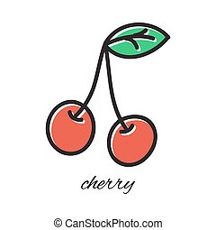 Vector illustration. Doodle cherry. Hand-drawn object isolated on white background. Easy paste to any background