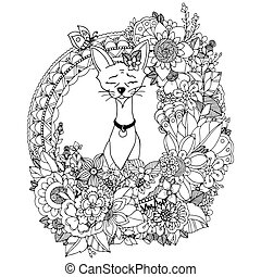 Vector illustration. Doodle drawing Egyptian cat in the floral frame. Coloring book anti stress for adults. Black and white.