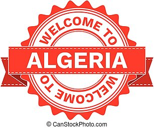 Vector Illustration Doodle of WELCOME TO COUNTRY ALGERIA . EPS8 .