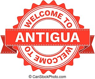 Vector Illustration Doodle of WELCOME TO COUNTRY ANTIGUA . EPS8 .
