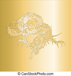 dragon pattern embossed on a gold p