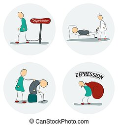 Icon set man in depression