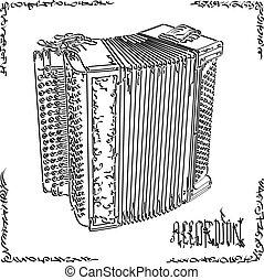 Vector illustration drawing of big accordion.