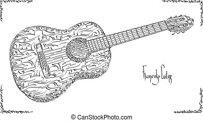 Vector illustration drawing of flamenco guitar. - Vector...