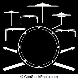 Vector illustration drum kit. Music instrument