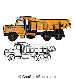 Vector illustration : Dump Truck sketch on a white background.