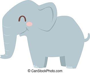 vector, illustration., elefante