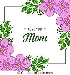 Vector illustration elegant purple flower frame with writing i love you mom