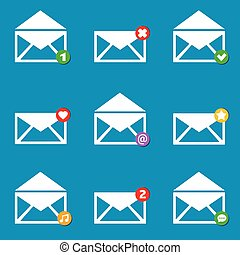 Vector illustration Email mailbox icons set