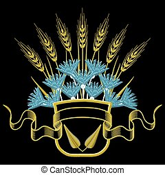 Vector illustration Embroidery Coat of arms with Wheat and blue Cornflowers.