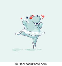 Vector Illustration Emoji character cartoon ballerina Hippopotamus in love