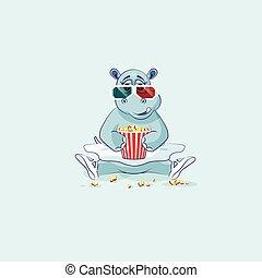 Vector Illustration Emoji character cartoon ballerina Hippopotamus chewing popcorn, watching movie